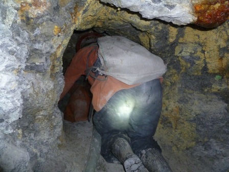 Squeezing through a tight spot in the mine